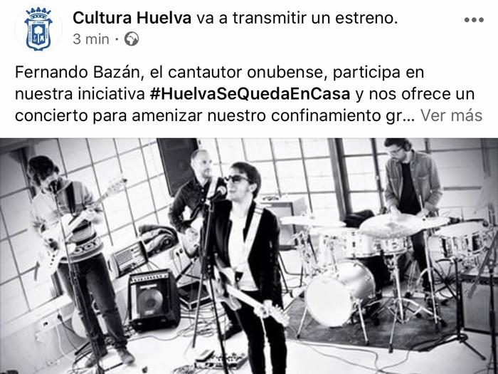 La iniciativa cultural 'Huelva se queda en casa' llega a 80.000 espectadores online