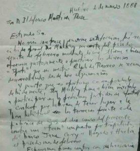 Carta manuscrita de L. Sánchez a Ildefonso Martínez donde éste es invitado a jugar un partido de fútbol organizado por Mackay frente a un equipo de marineros. / Foto RFEF.