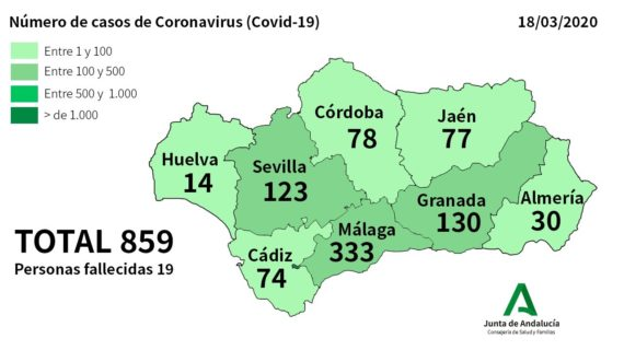 La Consejería de Salud asegura que Huelva cuenta con 14 casos de coronavirus, 4 de ellos ingresados