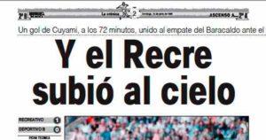 Titular de la crónica del partido en Huelva Información.