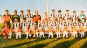 Domingo Serrano -segundo por la derecha, sentado- en las filas del Badajoz.