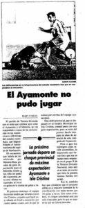 Reseña en La Voz de Huelva del partido que 'salvó' en principio Espina, pero que al final fue suspendido.