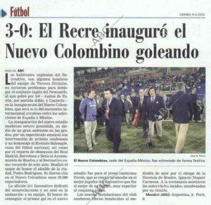 Información de ABC del partido que abrió las puertas del Nuevo Colombino.