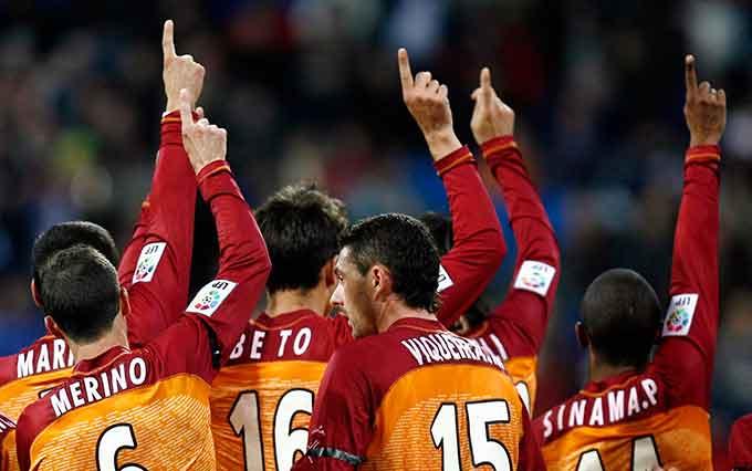 Cada gol que hizo el Recre se dedicó a los aficionados fallecidos en el accidente. / Foto: Huelva Información.