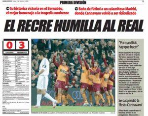 Así tituló El Mundo Deportivo la crónica del triunfo del Recre en el Santiago Bernabéu.