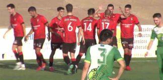 Alegría de los jugadores fronterizos tras marcar Dani Gómez el tanto que daba la vuelta al partido. / Foto: Captura RFAF TV.