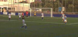 Los jugadores condales celebran el tanto obtenido por Manu Torres, de penalti. / Foto: Captura RFAF TV.