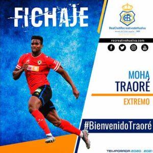 Moha Traoré, octava incorporación del Recre para la temporada 2020.21. / Foto: @recreoficial.