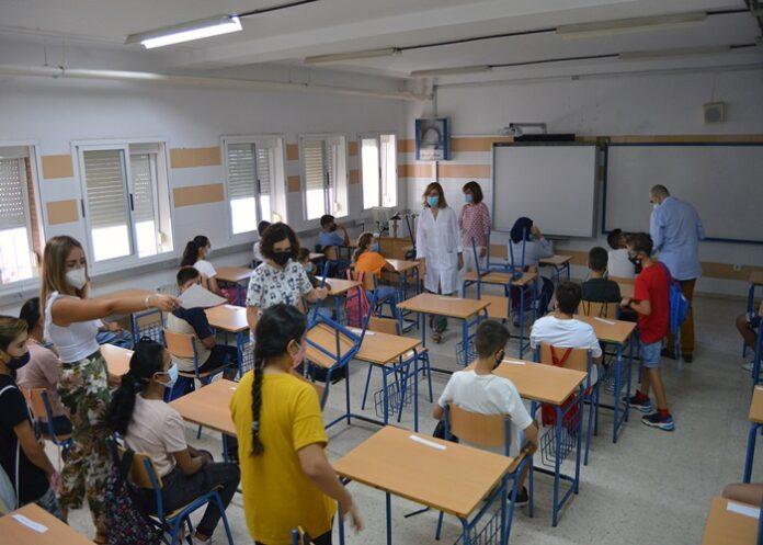 Una de las aulas de Huelva, esta del IES Diego Rodríguez de Estrada.