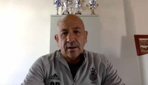 Claudio Barragán, entrenador del Recre, durante la rueda de prensa telemática previa al partido del domingo. / Foto: @recreoficial.