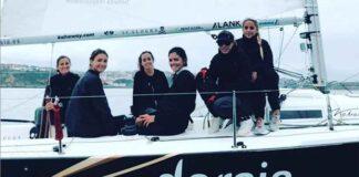 Marta Garrido, segunda por popa, a bordo del 'Dorsia Sailing Team'.