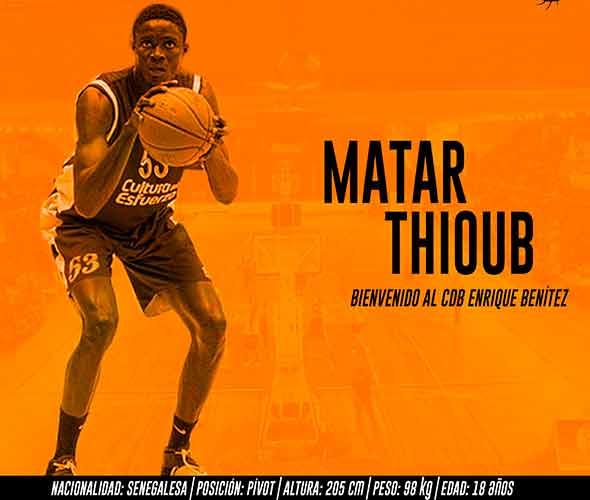 El senegalés Matar Thioub viene a reforzar el juego interior del CDB Enrique Benítez. / Foto: @CDB_EBenitez.