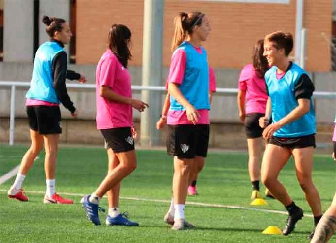Imagen del último entrenamiento del Sporting antes del partido de este miércoles ante el Madrid CFF. / Foto: @sportinghuelva.