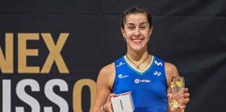 Sensacional triunfo de Carolina Marín en la final del Abierto de Suiza de bádminton. / Foto: Badminton Photo.
