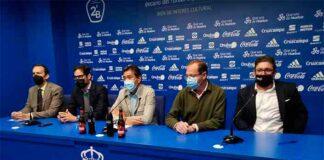 Un momento de la rueda de prensa de este viernes del consejo de administración del Recreativo. / Foto: Recreativo de Huelva.