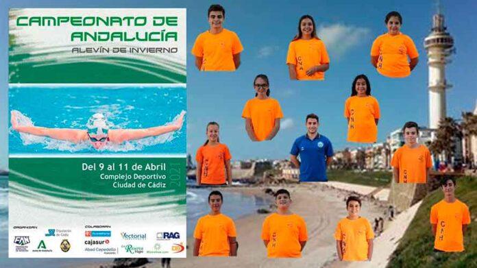 Cartel de la prueba con los representantes del CN Huelva en la misma.
