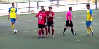 Celebración de uno de los goles anotados por el Cartaya en Tomares. / Foto: Captura imagen Cartaya TV.