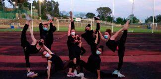 Imagen del último entrenamiento de las gimnastas del Rítmico Colombino en la Ciudad Deportiva.