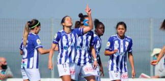 Las jugadoras del Sporting de Huelva celebran el primero de sus goles, éste anotado por Dany Helena. / Foto: www.lfp.es.