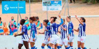 Las jugadoras del Sporting celebran el primer gol, anotado por Dany Helena. / Foto: www.lfp.es.
