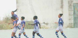 Las jugadoras del Sporting celebran uno de los goles anotados este domingo. / Foto: www.lfp.es.