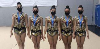 Conjunto Juvenil Base formado por Candela, Miriam, Alba, Paula y Carmen, subcampeón de Andalucía.