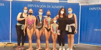 Componentes del GR Huelva en el Campeonato de Andalucía Individual de gimnasia rítmica.