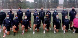 El Sporting de Huelva se entrenó este sábado en las instalaciones del Valencia. / Foto: @sportinghuelva.