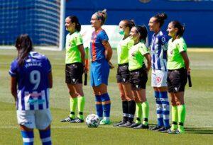 Prolegómenos del partido de este jueves entre el Barcelona y el Sporting de Huelva. / Foto: www.lfp.es.