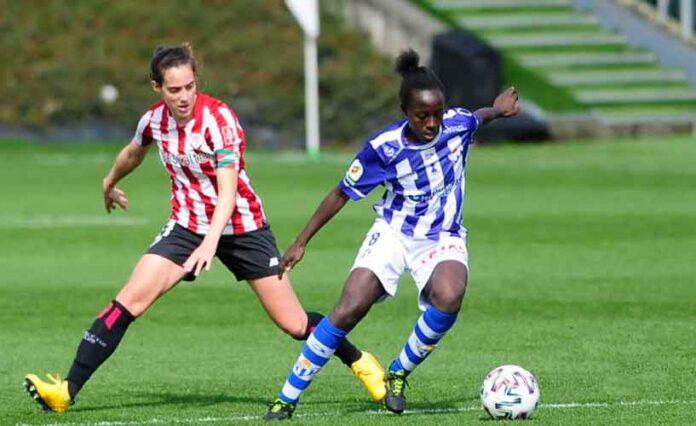 Fatou Kanteh, que firmó por dos temporadas, es una de las jugadoras del Sporting que continúan. / Foto: www.lfp.es.