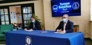 Un momento de la presentación del Torneo Benéfico de Tenis y Pádel a favor del Banco de Alimentos de Huelva de este fin de semana.