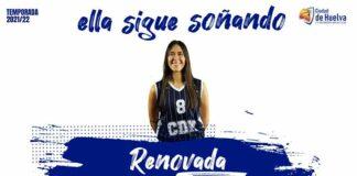 Ángela Rebollo, segunda jugadora del Ciudad de Huelva de la LNF 1 que renueva. / Foto: @CiudadDeHuelva.