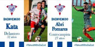 El delantero Kata y el centrocampista Abri Pomares, nuevos jugadores del Bollullos. / Foto: @bollulloscf1933.