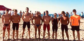 Componentes del Club Natación Huelva en la prueba celebrada en Islantilla.