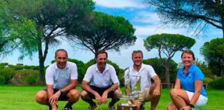 Los ganadores del XXXVI Trofeo Colombino de Golf celebrado en el Club Bellavista.