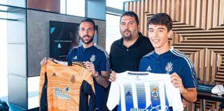 Rubén Gálvez y José Mari, junto al director deportivo del Recre, Dani Alejo. / Foto: @Franlvarez / @recreoficial.