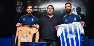 Gonzalo Piña, Dani Alejo y Juan Delgado en la presentación de los jugadores en el Nuevo Colombino. / Foto: @recreoficial.