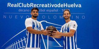Manu Galán y Álex Moreno, los dos nuevos jugadores del Recre presentados el jueves. / Foto: @recreoficial.