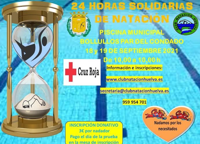 Cartel de Las 24 Horas Solidarias de Natación que se celebrarán este fin de semana en Bollullos.