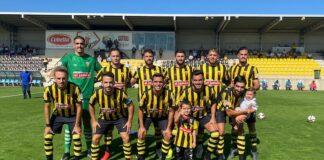 Formación inicial del San Roque en su partido ante el Tamaraceite, que ganó por 1-0. / Foto: San Roque de Lepe.