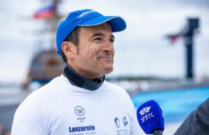Ricardo Terrades, durante la entrevista en el barco de Prensa al término de la competición. / Foto: Kristina Ryaguzova / Sailing Champions League.
