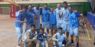 Los jugadores del Ciudad de Huelva tras el partido ganado en El Puerto de Santa María al Blaublock Gymnástic. / Foto: @CiudadDeHuelva.