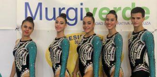 Componentes del equipo Senior Absoluto del Club Rítmico Colombino, oro en el Torneo Nacional 'La Mojonera'.