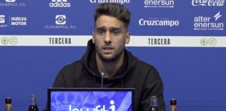 """Cristian Terán señala que """"el Recre ya está totalmente centrado en el partido del domingo con el Gerena"""". / Foto: Captura imagen Recreativo de Huelva."""